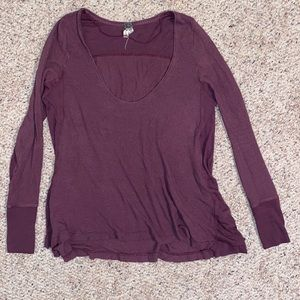 Free People thermal waffle knit long sleeve